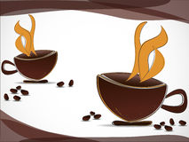 Kaffeetassen und Kaffeebohnen Stockfotografie