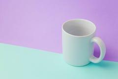 Kaffeetassespott herauf Schablone für Logodesign Stockfoto