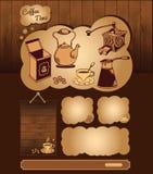 Kaffeethema für Netzschablone Lizenzfreie Stockbilder