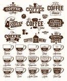 Kaffeetikett, logo och meny Royaltyfri Foto