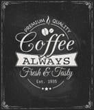 Kaffeetikett på den svart tavlan Royaltyfria Foton