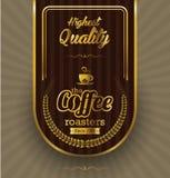 Kaffeetikettdesign över tappningbakgrund Fotografering för Bildbyråer