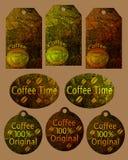 kaffeetiketter Royaltyfri Bild