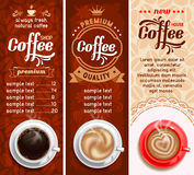 Kaffeetiketter Fotografering för Bildbyråer