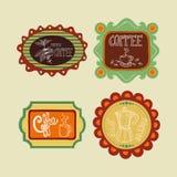 Kaffeetikettuppsättning stock illustrationer