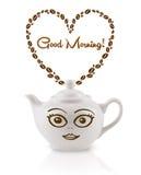 Kaffeetopf mit Kaffeebohnen formte Herz mit Zeichen des guten Morgens Stockbild