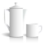 Kaffeetopf und -schale Stockfotografie