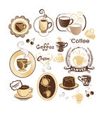 Kaffeevektorset Lizenzfreies Stockfoto