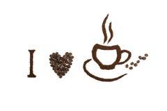 Kaffeeweißhintergrund Stockfoto