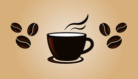 Kaffeeweinlese-Fahnenschablone mit Bohnen Stockfotografie