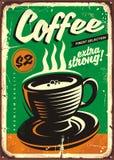 Kaffeeweinlese-Zinnzeichen lizenzfreie abbildung