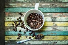 Kaffeeweinleseholz Stockfotos