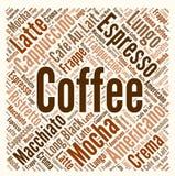 Kaffeewortwolke Stockfoto