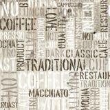 Kaffeewörter auf dem hölzernen Hintergrund Vektor Lizenzfreies Stockfoto