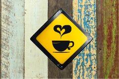 Kaffeezeichen auf Wand stockbild