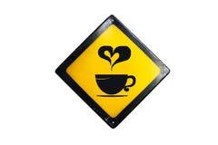 Kaffeezeichen wird auf weißem Hintergrund lokalisiert stockfoto
