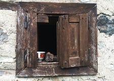 Kaffeezeit auf altem Fenster lizenzfreies stockfoto