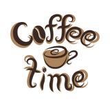 Kaffeezeitbeschriftung und -schale des Vektors von Hand gezeichnete Stockfotos