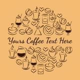 Kaffeezeitemblem von Kaffeeikonen Lizenzfreie Stockfotos