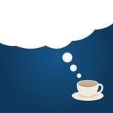 Kaffeezeitillustration mit Wolkenträumen Stockfoto
