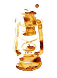 Kaffefläck för olje- lampa Arkivbild