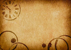 Kaffefläckar & bakgrund för klockavellängpapperpergament Royaltyfria Bilder