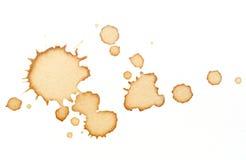 Kaffefläckar på vitbok Fotografering för Bildbyråer