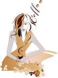 kaffeflicka Royaltyfri Illustrationer