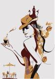 kaffeflicka Stock Illustrationer