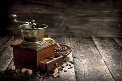 Kaffegrinder med kaffebönor Royaltyfria Bilder