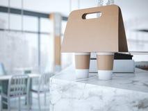 Kaffehållare på tabellen framförande 3d Arkivbild