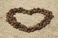Kaffehjärta på kanfas Royaltyfria Bilder