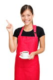 kaffeholding som pekar servitrisen Royaltyfri Foto