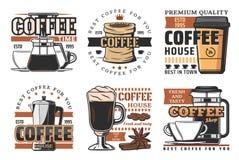 Kaffehus, kafeteria och produktionsymboler stock illustrationer