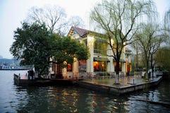 Kaffehus på vattnet Arkivbild