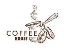Kaffehuskafé eller kafeteria isolerad symbol stock illustrationer