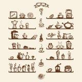 kaffehuskök shelves utensils Arkivbilder