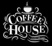 Kaffehuslogo med retro effekt och koppen royaltyfri illustrationer