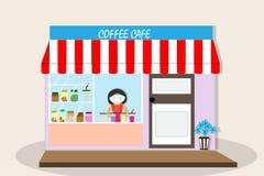 Kaffekafé - vektorillustration Arkivbilder