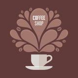 Kaffekopp med blom- tappningdesignbeståndsdelar Royaltyfria Foton