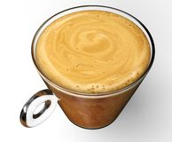 Kaffekopp med coffe som isoleras på vit Arkivbild