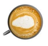 Kaffekopp med coffe som isoleras på vit Arkivfoton