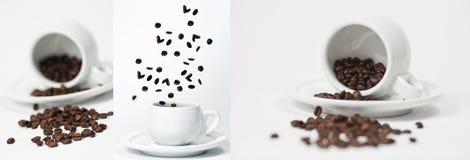 Kaffekopp med collage för kaffebönor Arkivbild