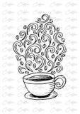Kaffekopp med den abstrakta prydnaden Arkivbild