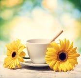 Kaffekopp med gula gerberas Arkivbilder