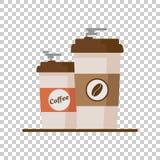 Kaffekopp med kaffebönor på isolerad bakgrund Plan vektor Royaltyfri Fotografi