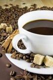 Kaffekopp med kanel och socker Royaltyfri Bild