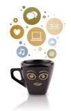 Kaffekopp med samkvämmen och massmediasymboler i färgrika bubblor Arkivbild