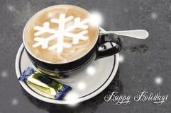 Kaffekopp med snowflakeform Royaltyfria Bilder