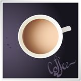 Kaffekopp med världsöversikten på bakgrund, övre sikt. royaltyfri illustrationer